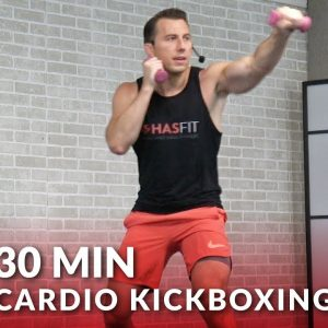 30 Minute Cardio Kickboxing Workout to Burn Fat at Home 🔥 30 Min Cardio Boxing Workout Routine