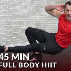 45 Minute Full Body HIIT Workout with Dumbbells - 45 Min HIIT Home Workout with Weights