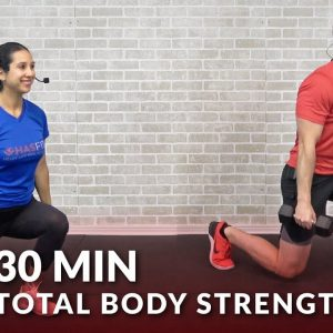 30 Minute Total Body Strength Workout at Home - Full Body Workout Routine with Weights for Men Women