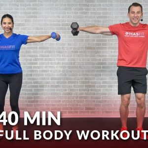 40 Min Full Body Workout Routine at Home - Dumbbell Total Body Strength Workout with Weights