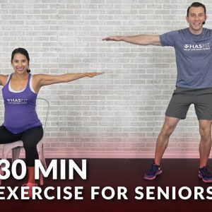 30 Min Exercise for Seniors, Elderly, & Older People - Seated Chair Exercise Senior Workout Routines
