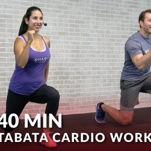 40 Min Tabata Cardio Workout without Equipment + Abs - Full Body HIIT No Equipment Cardio at Home