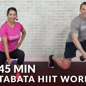 45 Min Tabata HIIT Workouts for Weight Loss & Strength - Full Body Workout at Home with Weights
