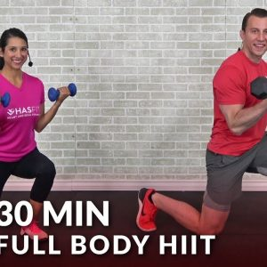 30 Minute Full Body HIIT At Home Workout with Weights - Total Body 30 Min Dumbbell HIIT Workout