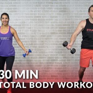 30 Minute Total Body Workout with Dumbbells - Home Strength Training Full Body Workout with Weights