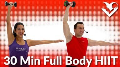 30 Minute Full Body HIIT Workout at Home with Weights - 30 Min Dumbbell HIIT Workouts for Fat Loss