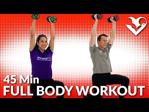 45 Min Dumbbell Full Body Workout at Home - Total Body Strength Training Workouts with Weights