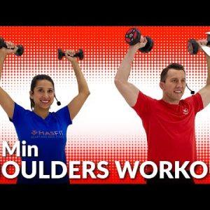 15 Min Shoulder Workout with Dumbbells at Home for Women & Men - Deltoid Exercises for Shoulders